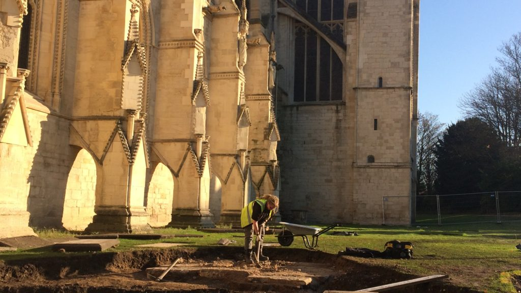 Archaeological Excavation - Gloucester Cathedral - adjacent to the South Porch is under way