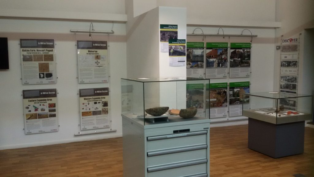 Archaeological finds on display from both the Western and Eastern Expansion Areas, Milton Keynes