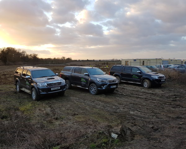 Border Archaeology branded vehicles looking very clean on site