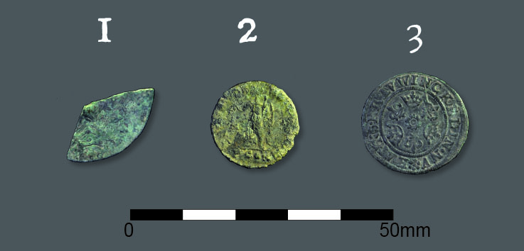 Coins unearthed during Project Pilgrim at Gloucester Cathedral