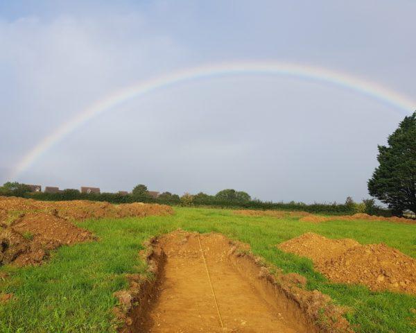 Rainbow over trench