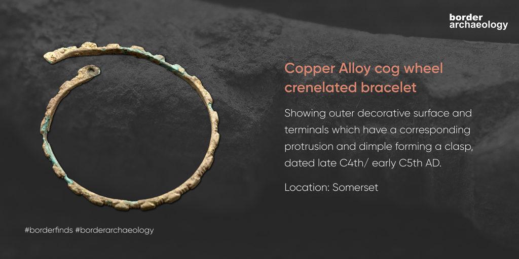 Copper Alloy cog wheel crenelated bracelet