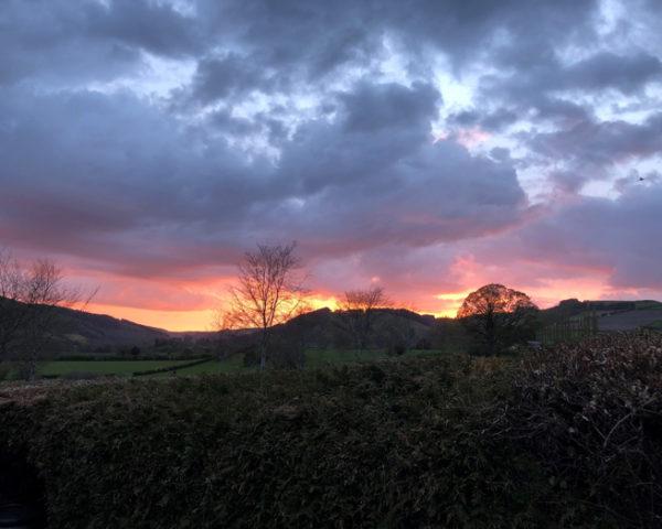 Sunset over Pilleth battlefield